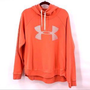 Under Armour Orange Funnel Hoodie Logo Pullover